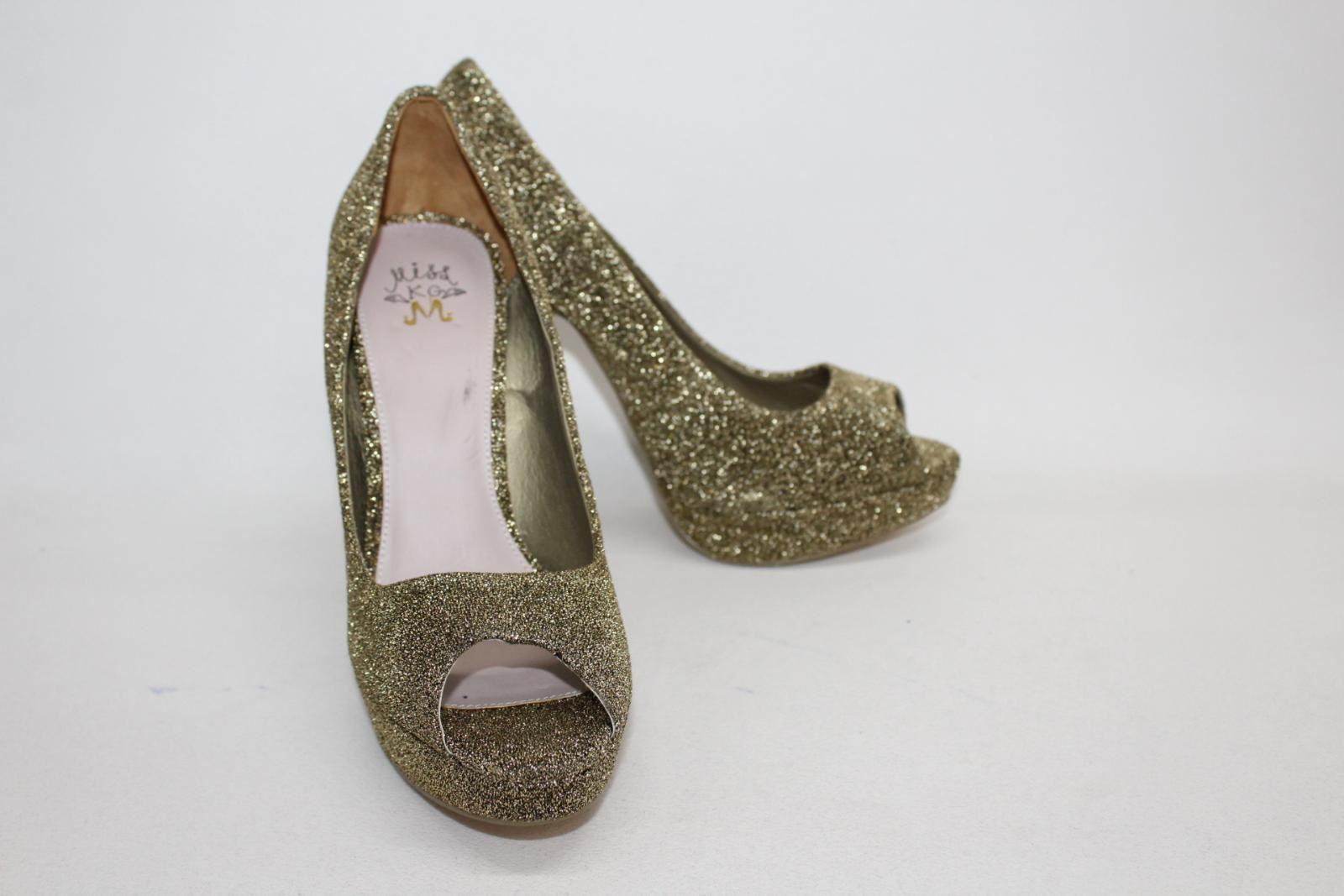 MISS KG Ladies gold Glitter Peep Toes Platform Heel shoes Size Approx. UK7
