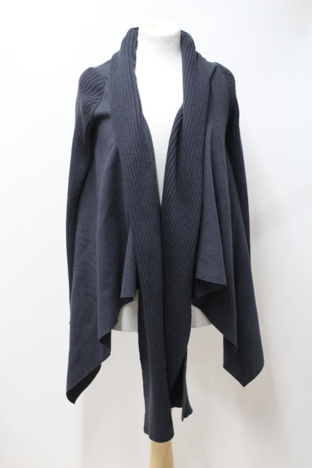 NICOLE-FARHI-Ladies-Grey-Wool-Waterfall-Front-Long-Sleeve-Poncho-Style-Jacket-S