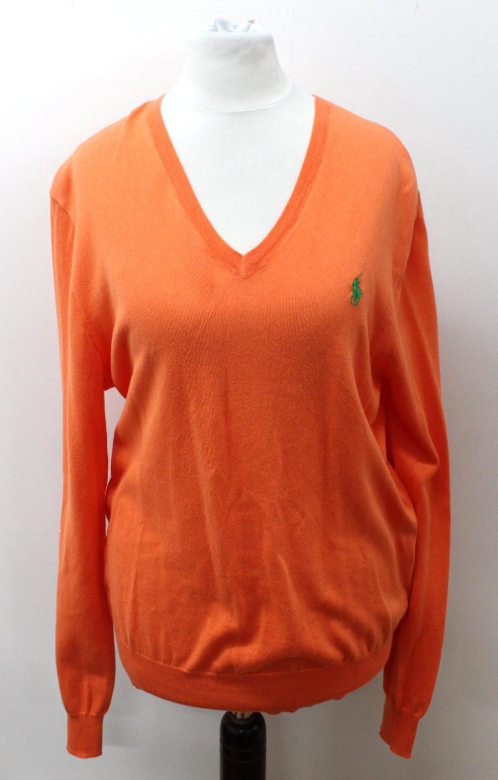 100% Vero Polo By Ralph Lauren Donna Arancione Cotone Manica Lunga Collo V Maglione Taglia S-mostra Il Titolo Originale Colori Armoniosi