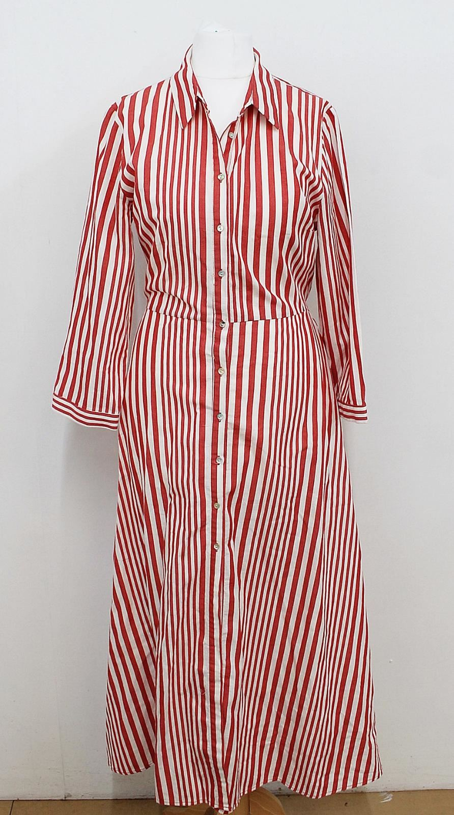 d98fe39e ZARA WOMAN Ladies Red White Stripe Patterned Belted Shirt Maxi Dress ...