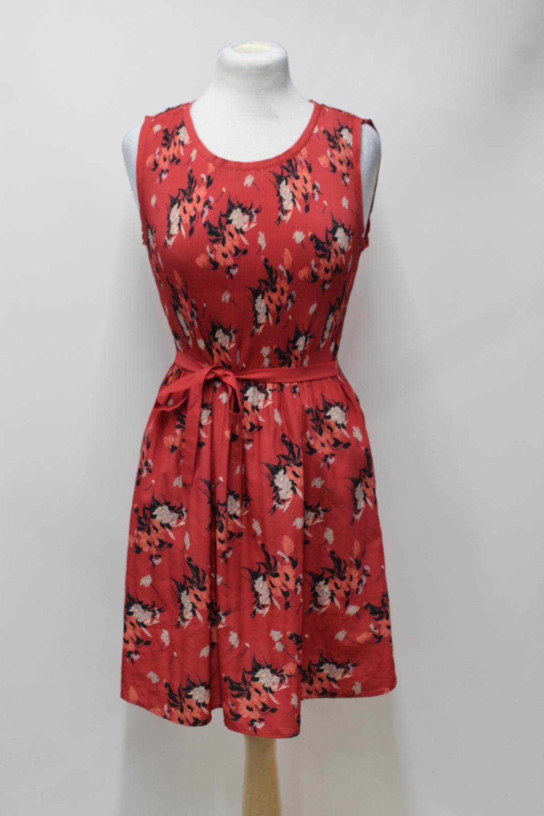 ALL-SAINTS-Ladies-Red-Floral-Print-Scoop-Neck-Sleeveless-Knee-Length-Dress-M
