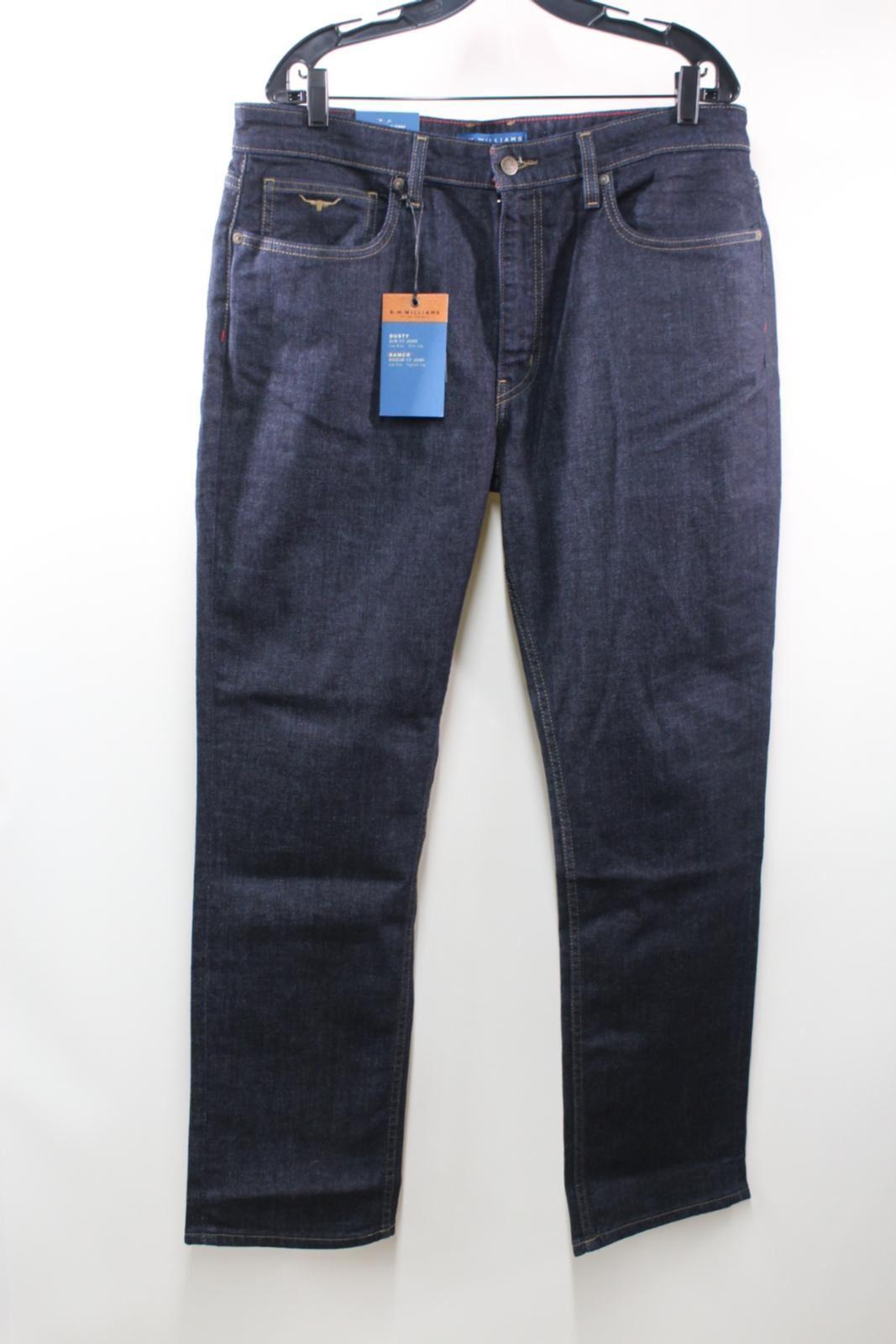 BNWT R.M. WILLIAMS Men's Dark Blau Taperot Leg Low Rise Denim Jeans W38 L32