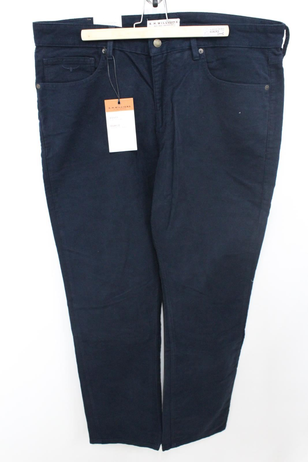 BNWT R.M. WILLIAMS Mens Ramco Regular Jeans Low Navy bluee Tapered Leg 32in 30L