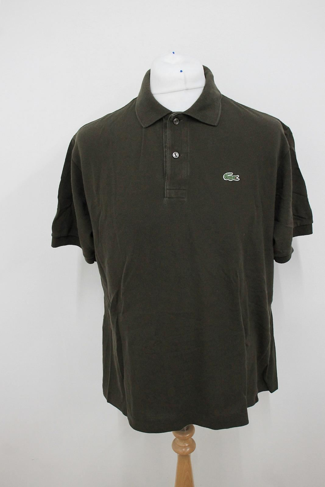 LACOSTE-Men-039-s-Dark-Green-Cotton-Short-Sleeved-Collared-Polo-Shirt-Size-6-XL