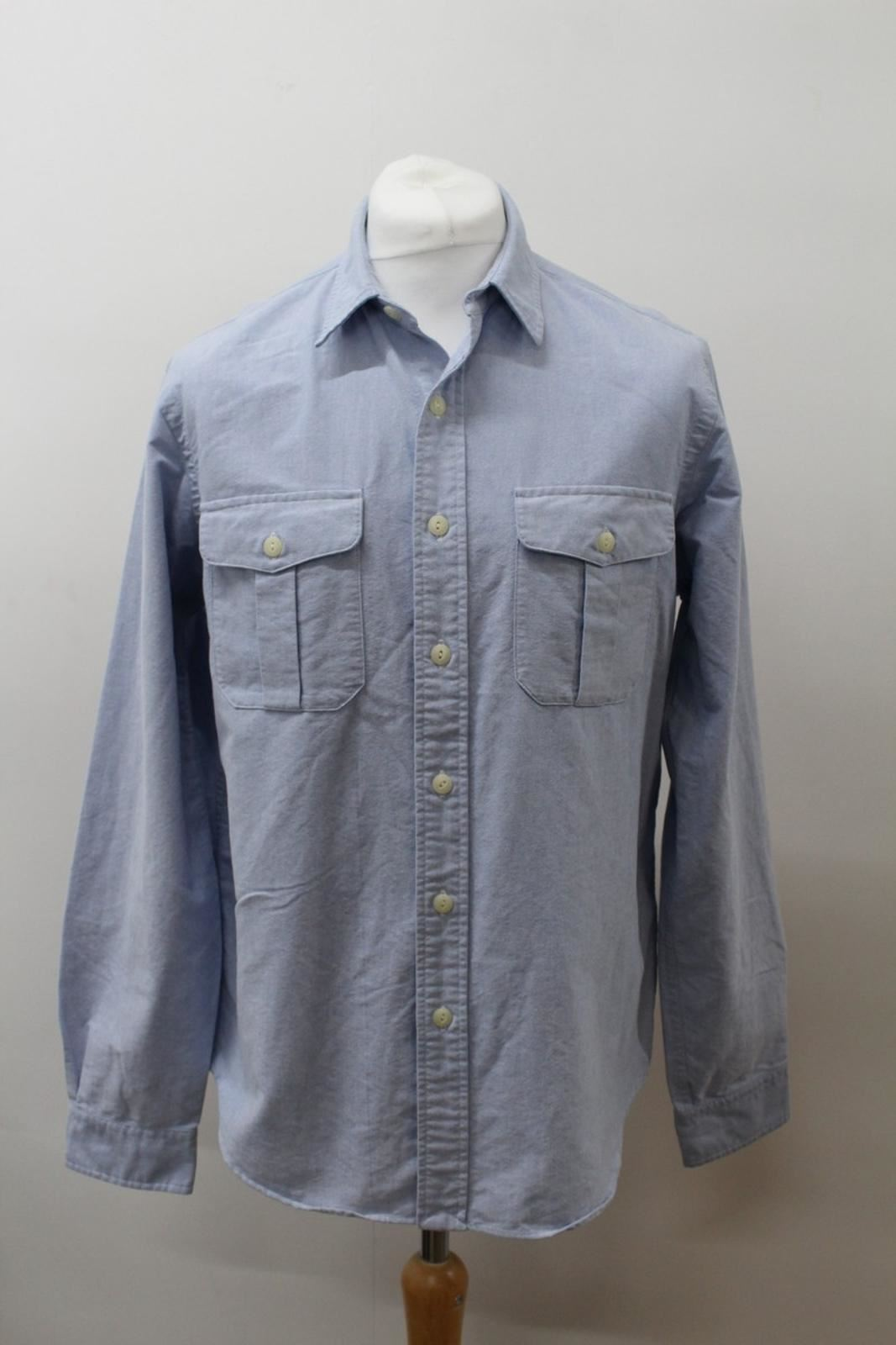 POLO-BY-RALPH-LAUREN-Men-039-s-Blue-Cotton-Long-Sleeve-Collared-Casual-Shirt-L
