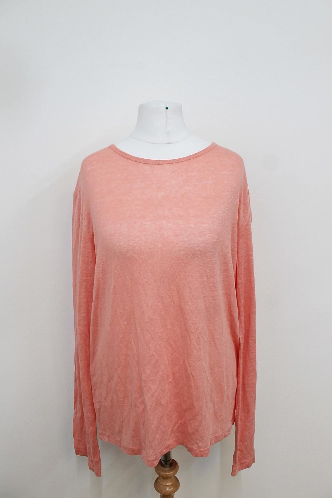 BNWT ALEXANDER WANG Ladies Salmon Rosa Long Sleeved Linen Silk Blend Top S