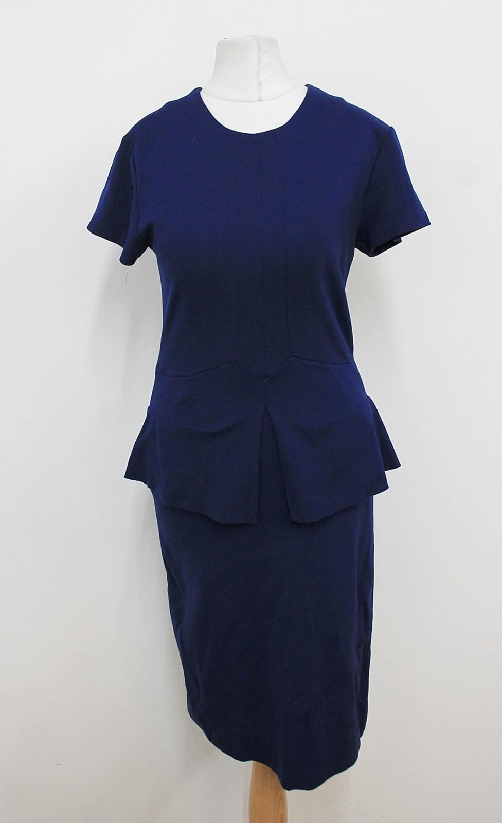 IRIS-amp-INK-Ladies-Deep-Blue-Short-Sleeved-Crew-Neck-Stretchy-Peplum-Dress-UK8