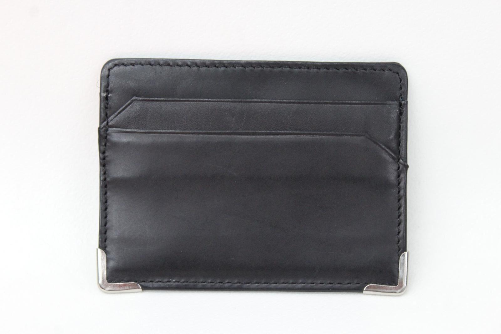 KIKI-JAMES-Men-039-s-Black-amp-Blue-Leather-5-Slot-Metal-Corner-Card-Holder-Wallet-NEW