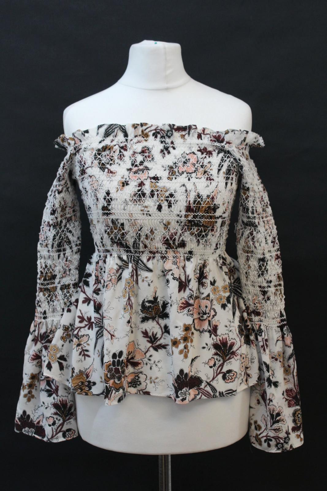 A.L.C. Ladies Weiß Silk Long Sleeve Printed Bardot Elastic Blouse US2 UK6