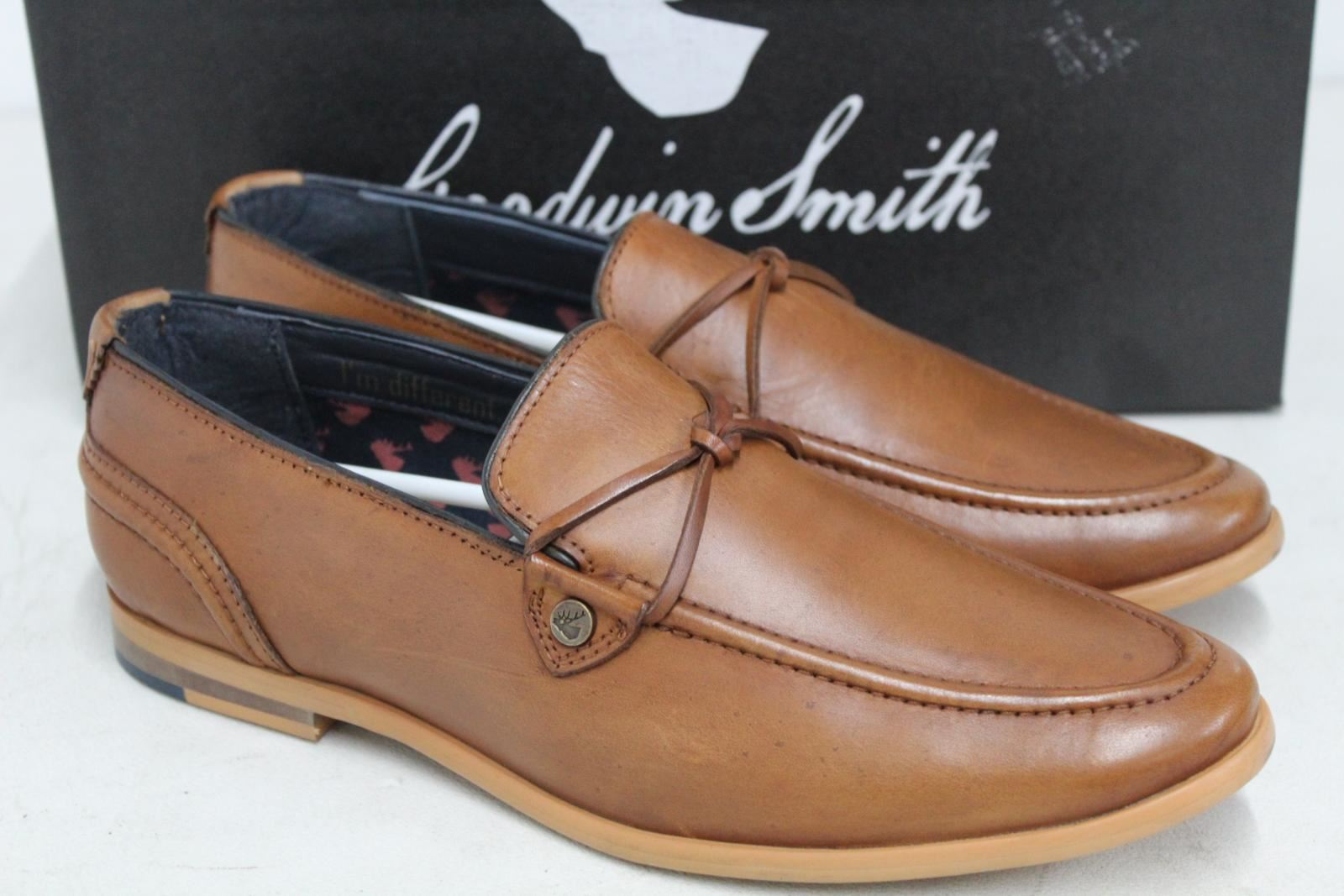 Goodwin-Smith-Para-Hombre-Napoli-Tanga-Zapato-Marron-Sin-Cordones-Mocasin-Cuero-UK8-EU42-Nuevo