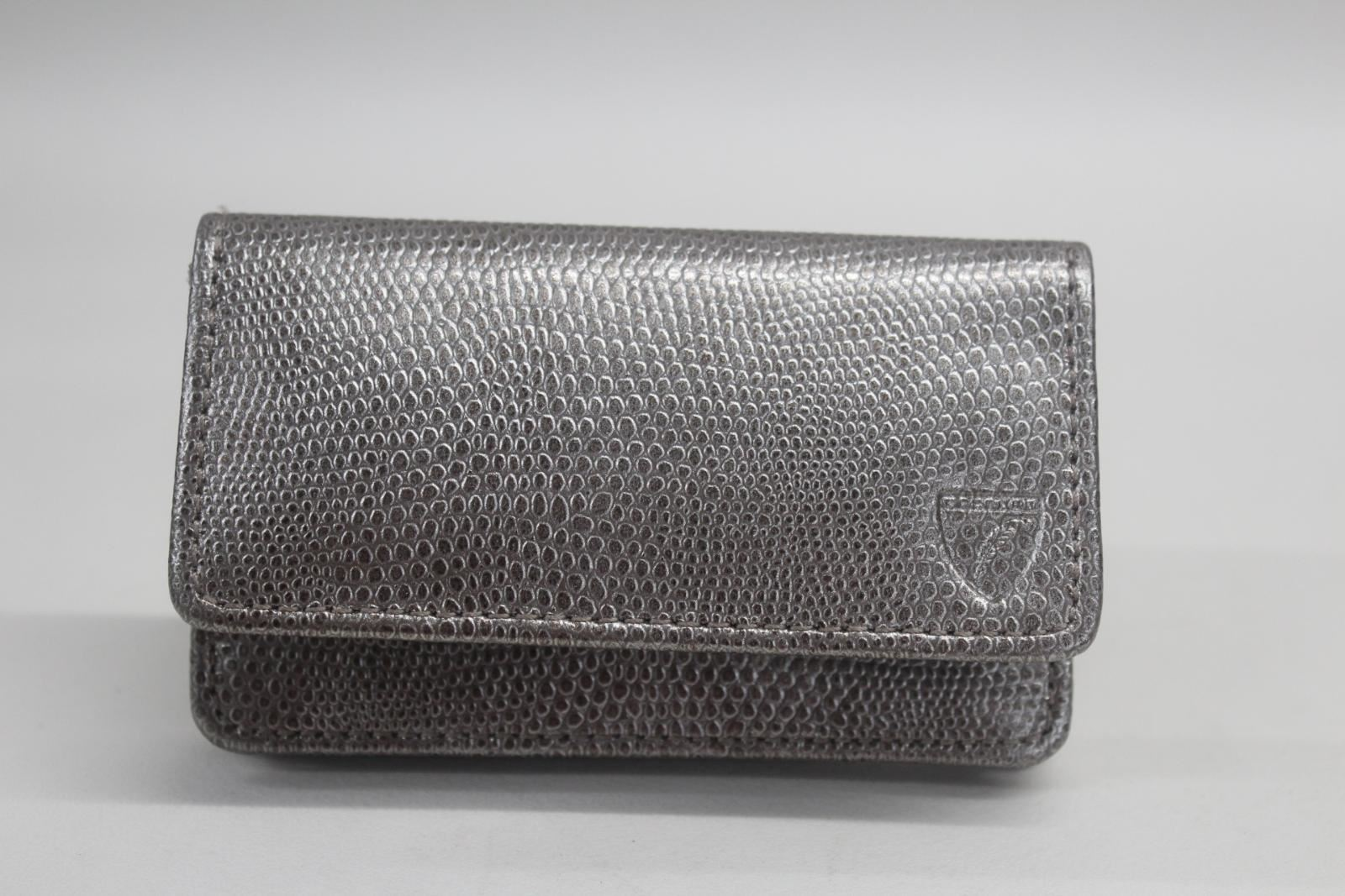 ASPINAL-OF-LONDON-Business-Credit-Card-Case-Lizard-Print-Silver-Colour-NEW
