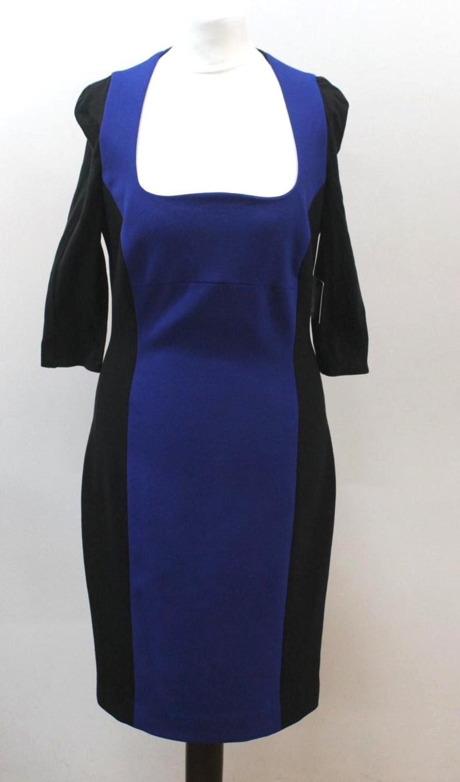 CABE Ladies schwarz Blau 3 4 Sleeve Scoop Neckline Pencil Dress US6 UK10 BNWT