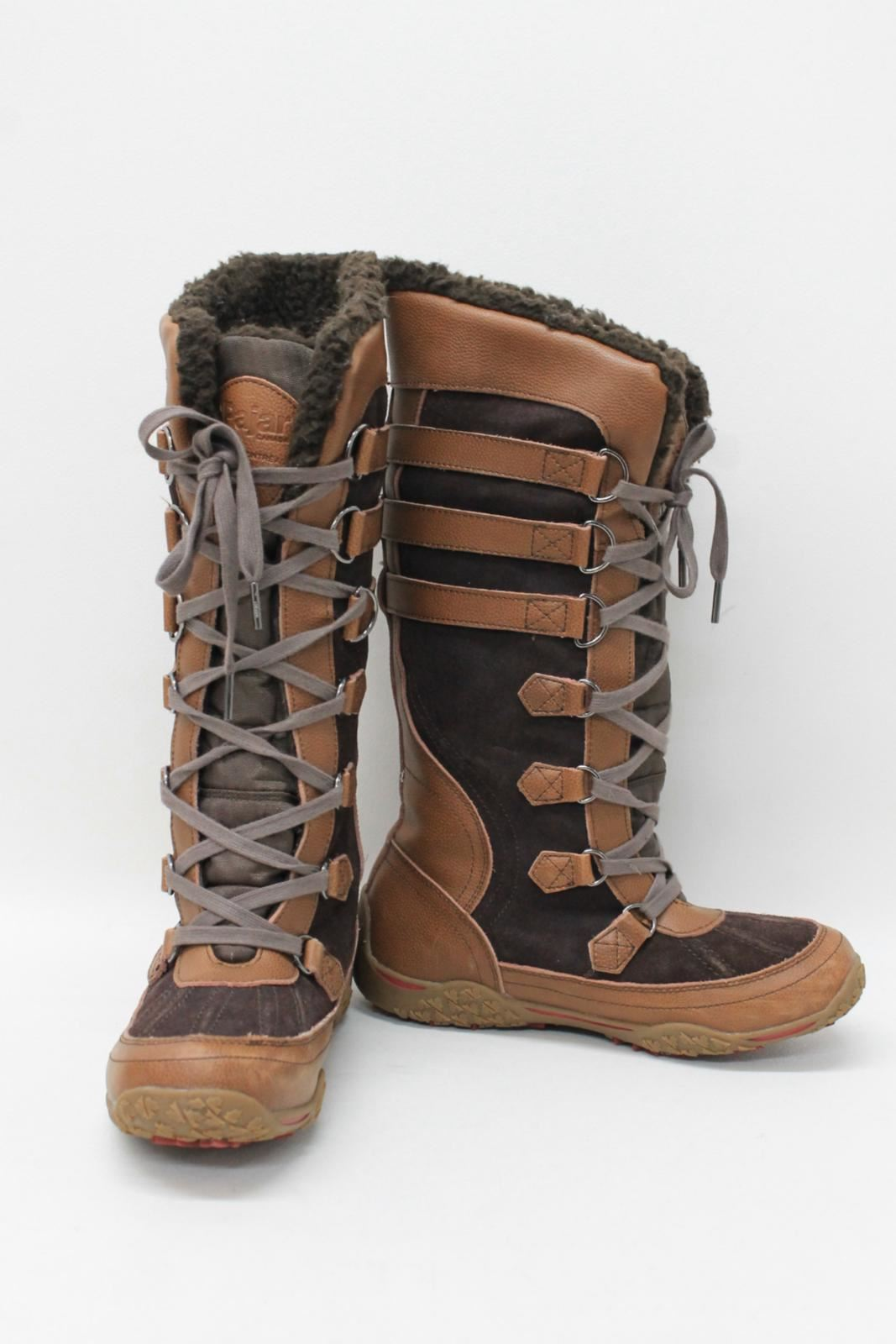 3f455b35b3b PAJAR CANADA Ladies Tan Brown Leather Suede Lace Up Knee Length Snow ...