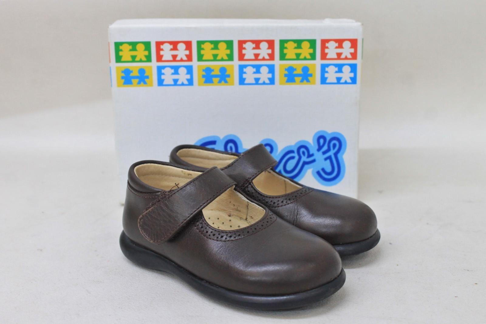 CRIO-Girls-Zapato-121-Chocolate-Leather-Mary-James-Flat-Shoes-Size-UK5-EU22