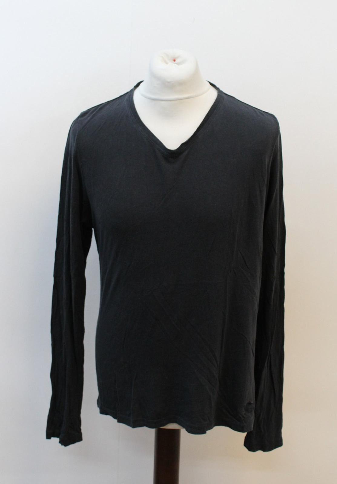 BURBERRY-LONDON-Men-039-s-Black-Long-Sleeve-V-Neckline-Basic-T-Shirt-Size-XL