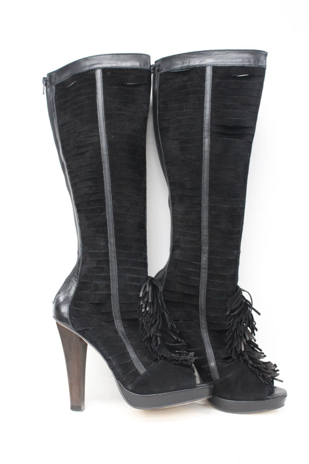 CARVELA Ladies Black Suede High Heel Zip Up Peep Toe Knee High Boots UK7 EU40
