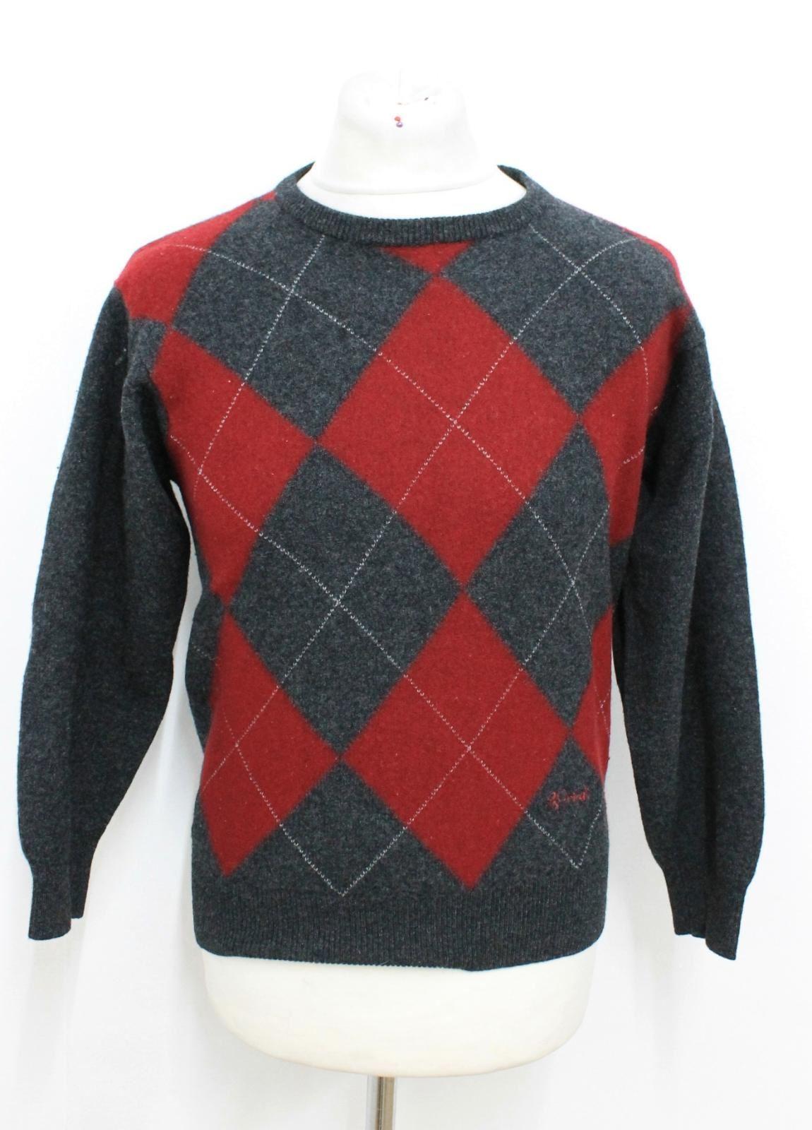 PRINGLE OF SCOTLAND Men's Dark Grey Red Argyle Patterned Wool Jumper Size L