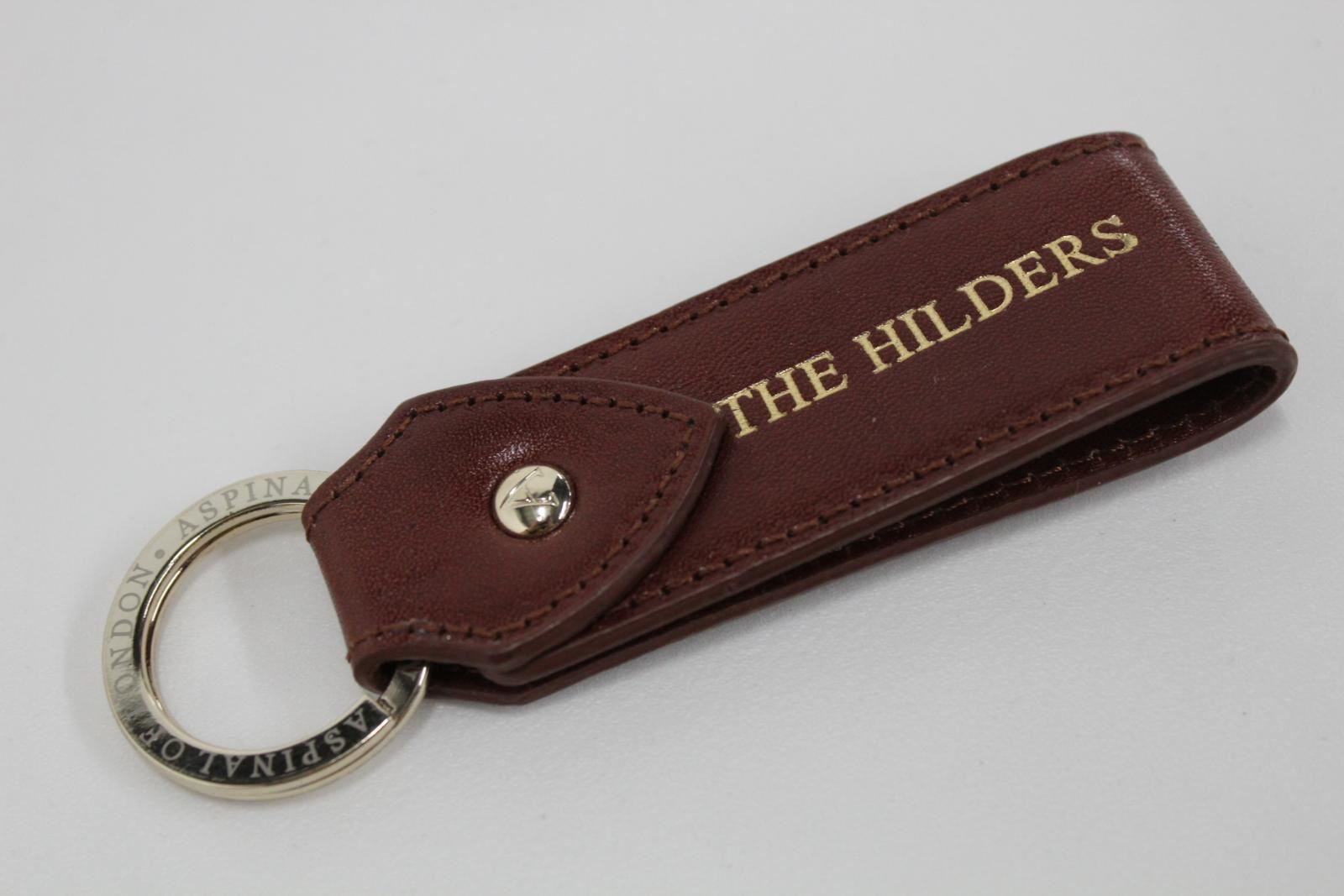 ASPINAL-OF-LONDON-Leather-Brown-The-Hilders-Golden-Accent-Print-Keyring-NEW