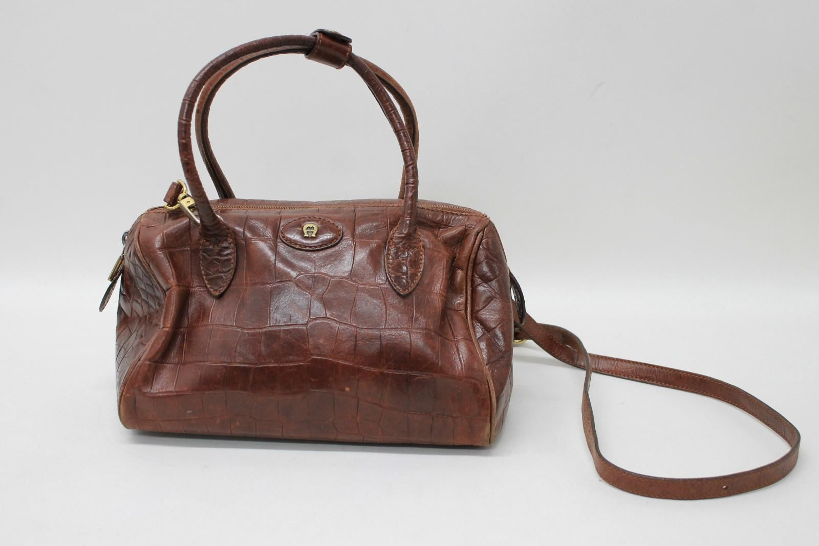 733e210767 Image is loading ETIENNE-AIGNER-Ladies-Brown-Croc-Effect-Leather-Cross-