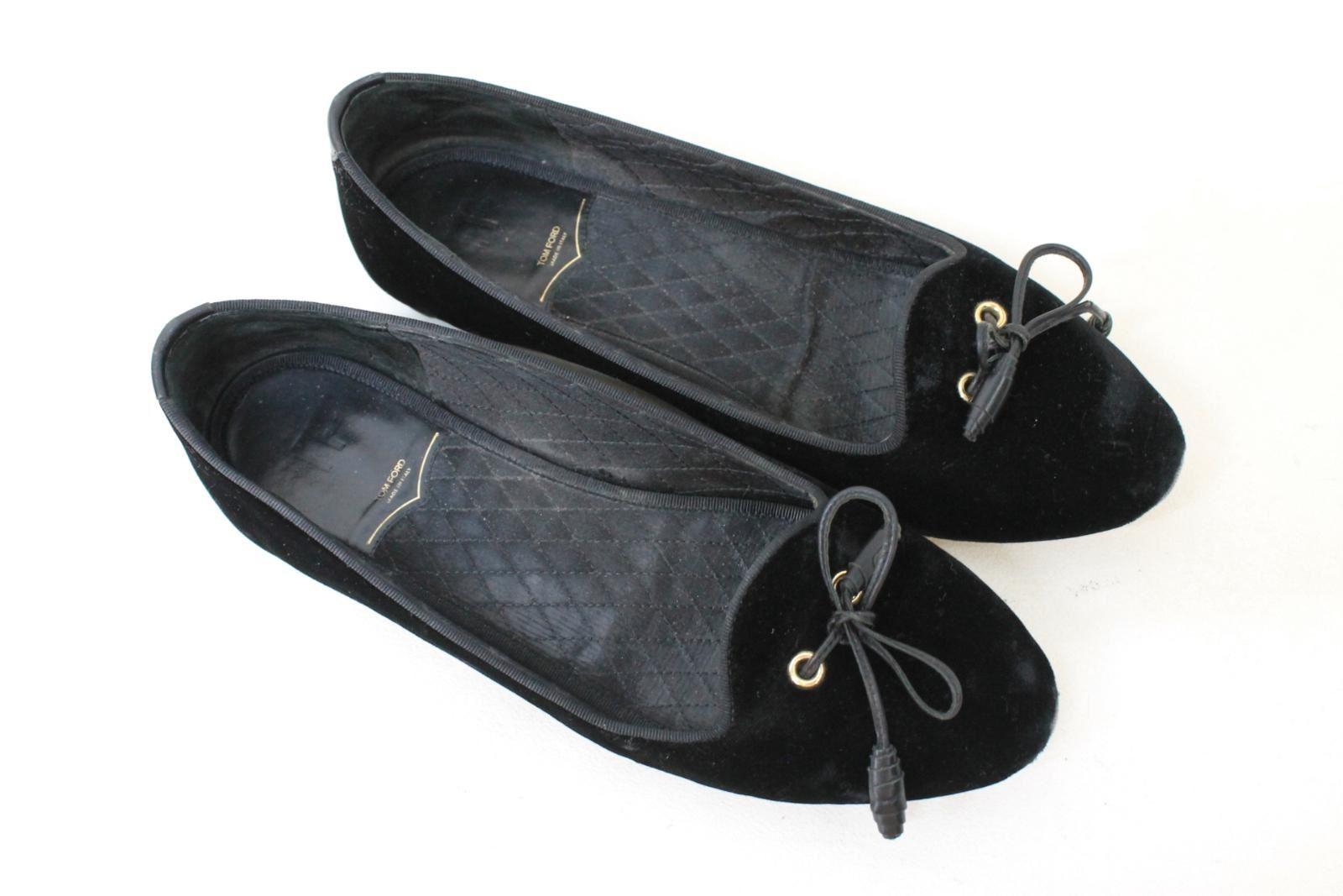 TOM-FORD-Ladies-Black-Velvet-Ballerinas-Leather-Bow-Flat-Shoes-UK5-5-EU38-5