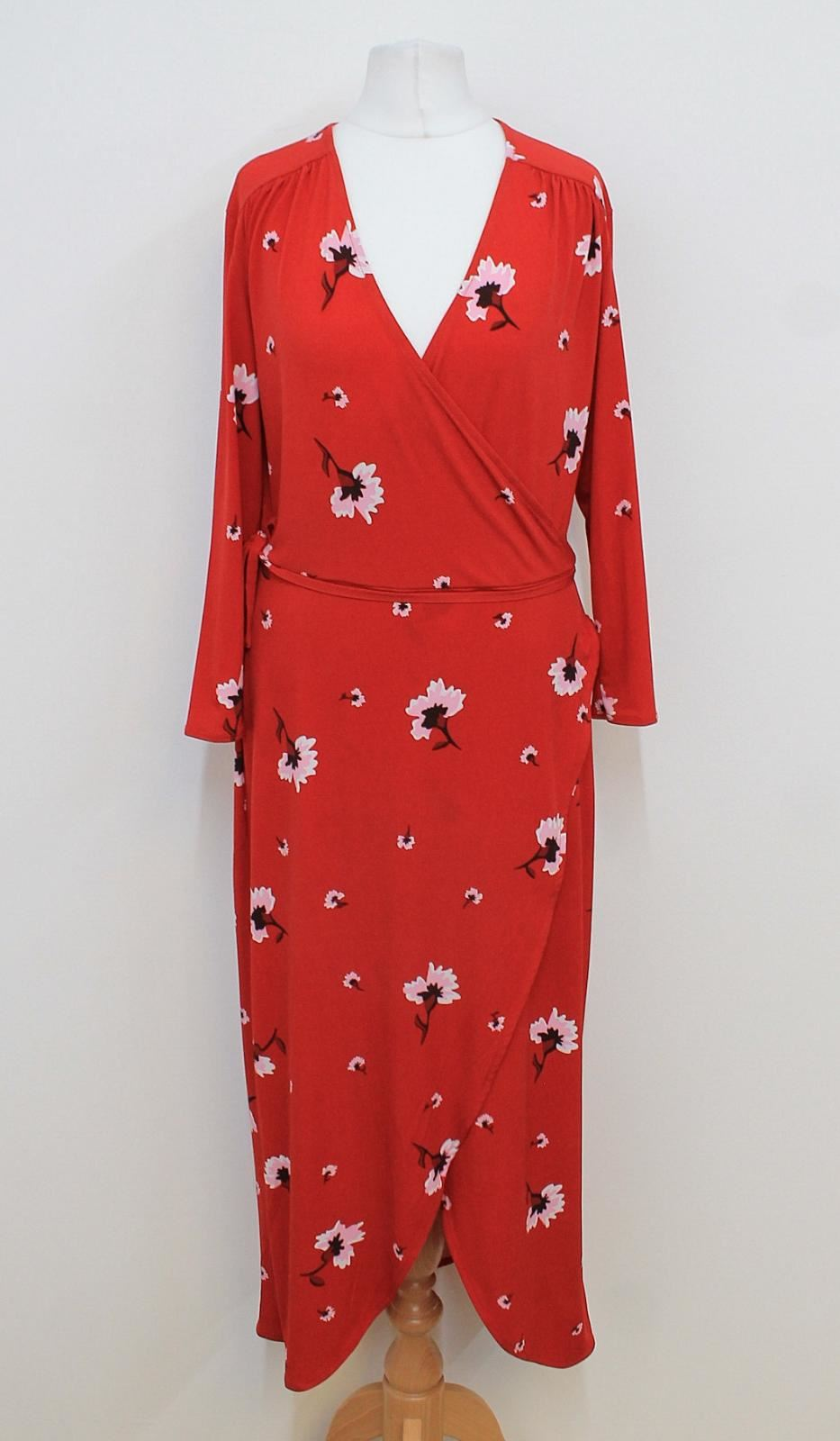 WAREHOUSE-Ladies-Red-Floral-Printed-Long-Sleeved-V-Neck-Wrap-Dress-Size-UK12