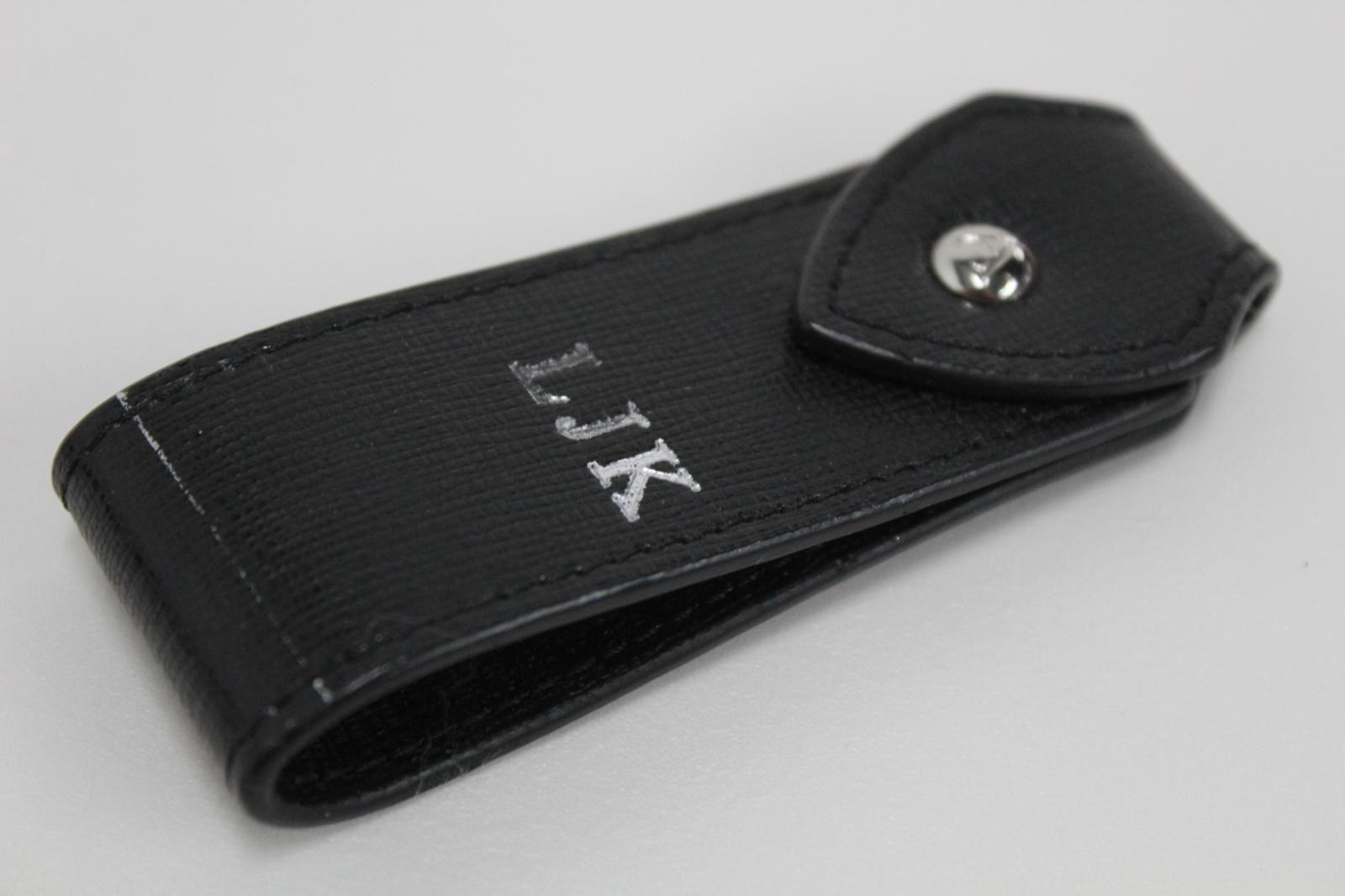 ASPINAL-OF-LONDON-Saffiano-Black-Leather-Silver-LJK-Keyring-No-Ring-Fob-NEW