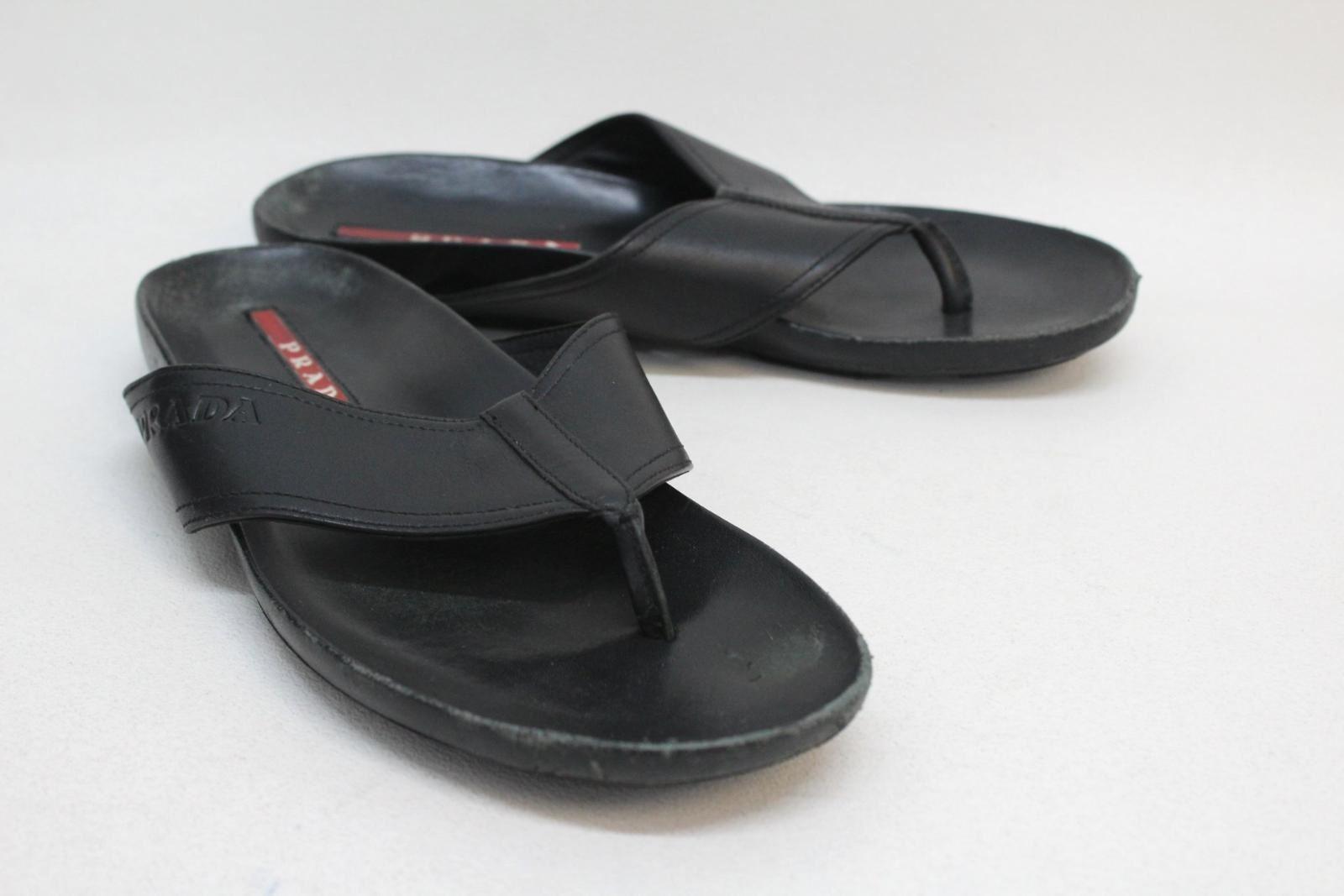 4b940675bca8 PRADA Men s Plain Black Leather Toe Post Flip Flop Sandal Shoes Size ...