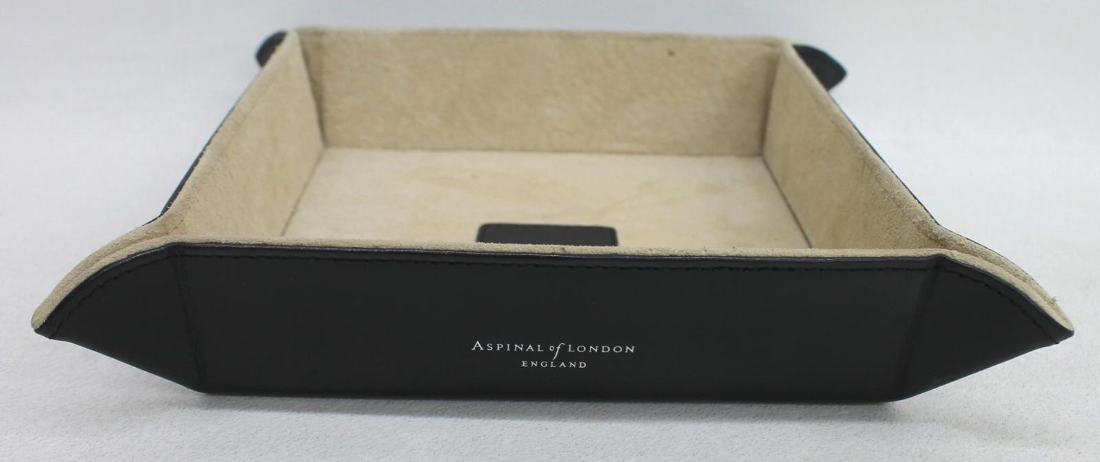 ASPINAL-OF-LONDON-Medium-Tidy-Tray-Smooth-Black-Leather-Trinket-Holder-NEW