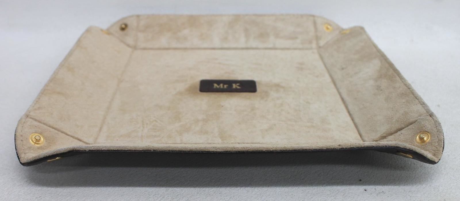 ASPINAL-OF-LONDON-Mahogany-Croc-Print-Leather-Medium-Tidy-Tray-Embossed-Mr-K-NEW