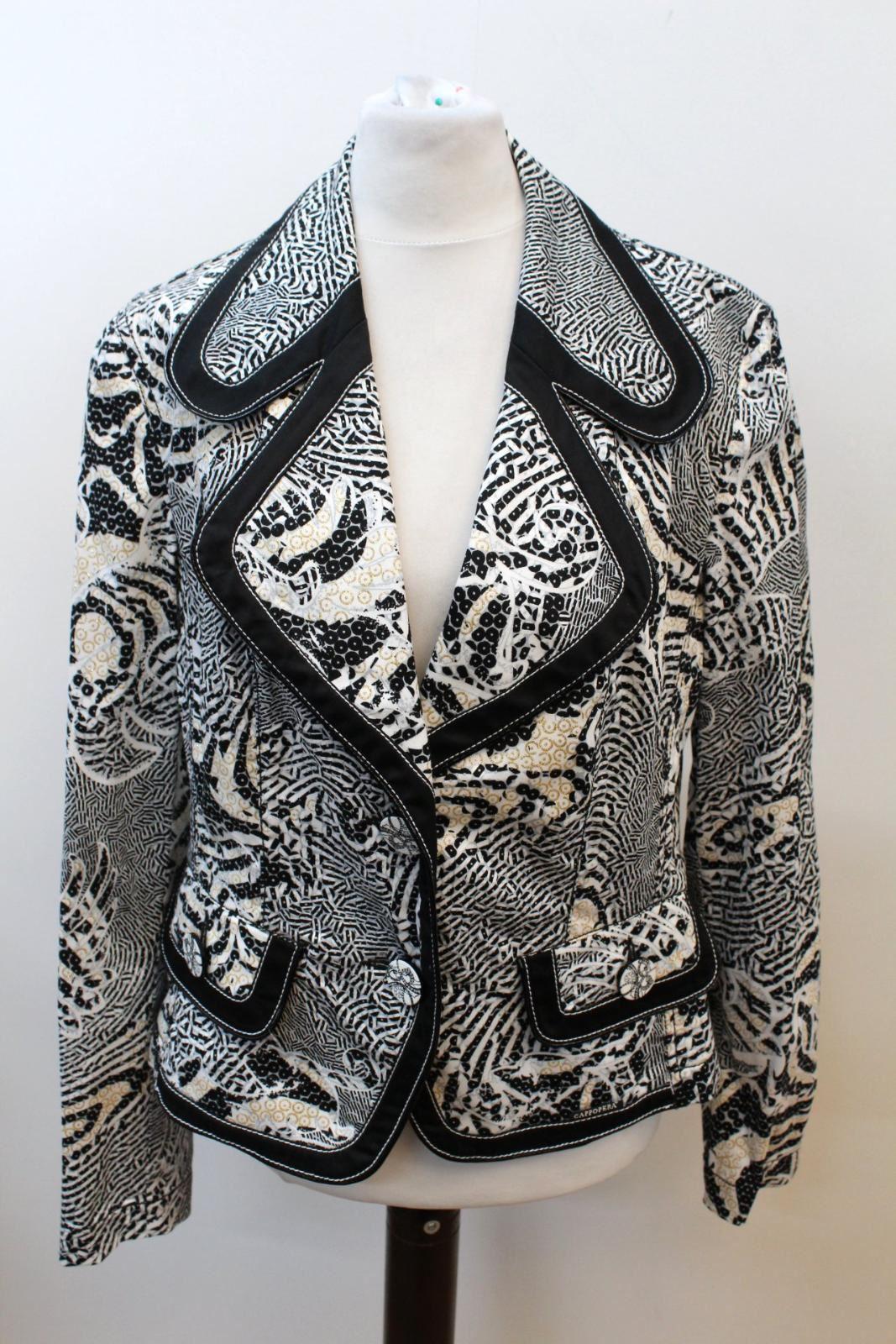 Jeans Imprimé Blanc Blanc It48 Uk16 Veste Cappopera Coton De Blazer À Mélange En Animal Sxpwfg