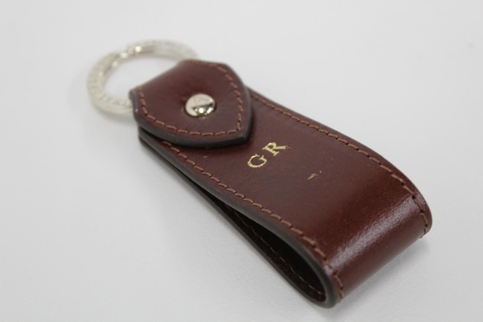 ASPINAL-OF-LONDON-Leather-Walnut-Brown-G-R-Initials-Gold-Accent-Keyring-Fob-NEW