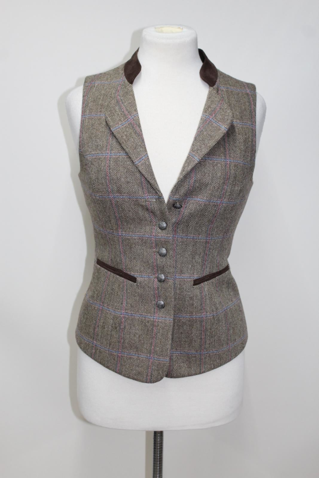 Spindle lana marrone Uk8 e a Ladies in spina Gilet gilet pesce Dubarry Bnwt di aqdI1a