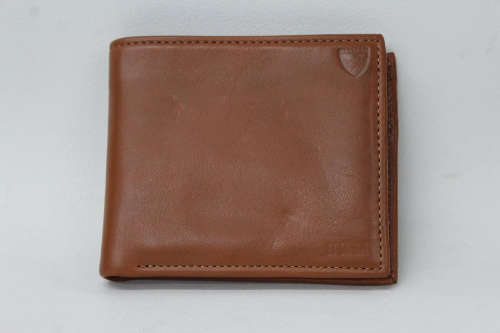 ASPINAL-OF-LONDON-Men-039-s-Tan-Brown-Smooth-Leather-BRM-Embossed-Bifold-Wallet-NEW