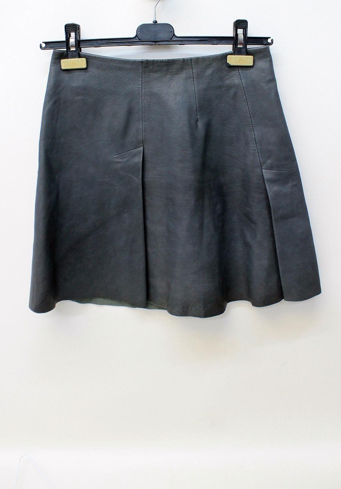 All Saints Cuero señoras Gris Oscuro plisada con cintura alta Mini Falda Corta UK8