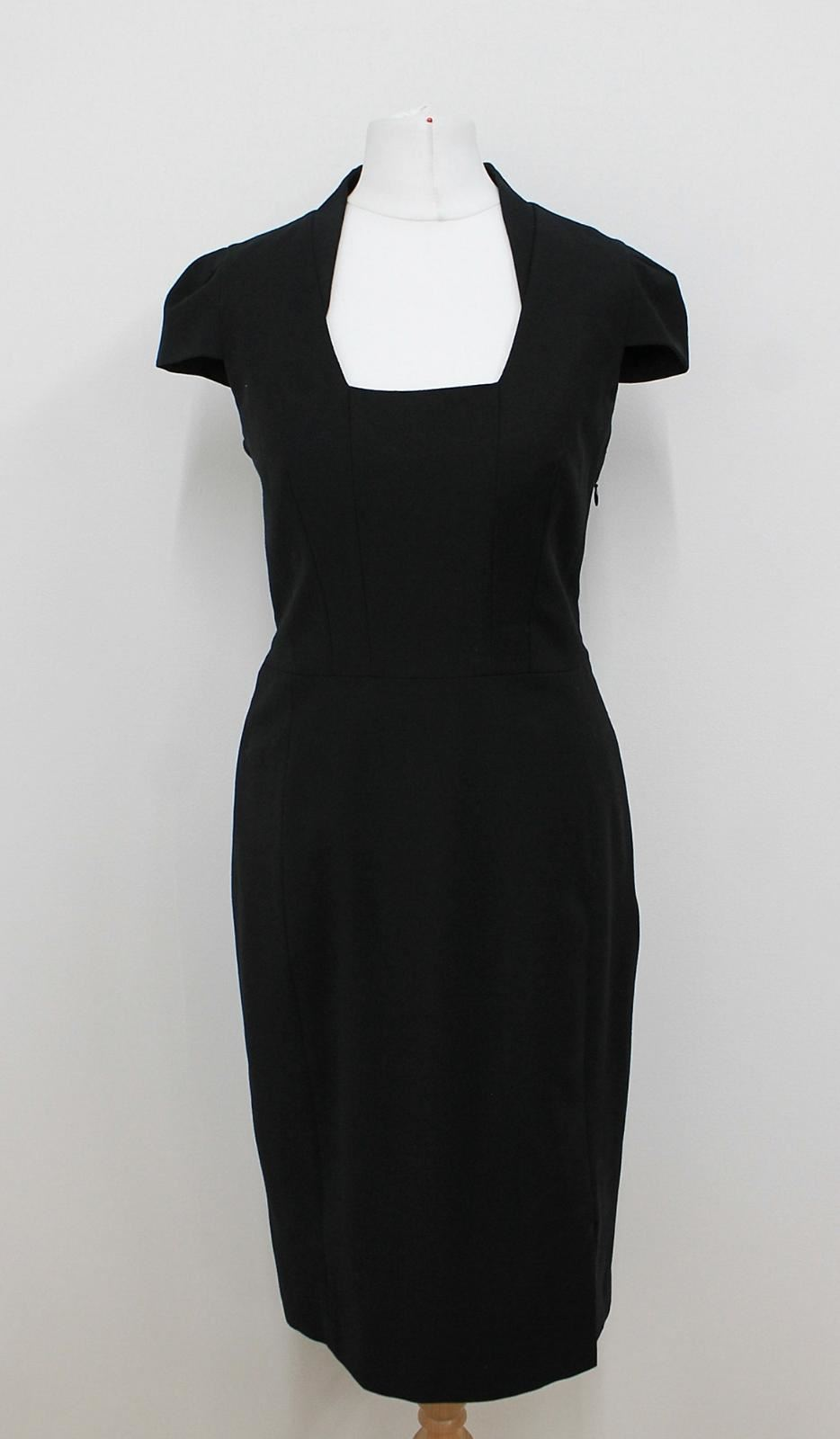 REISS-Ladies-Black-Square-Shaped-Neck-Cap-Sleeved-Shift-Dress-Size-UK10