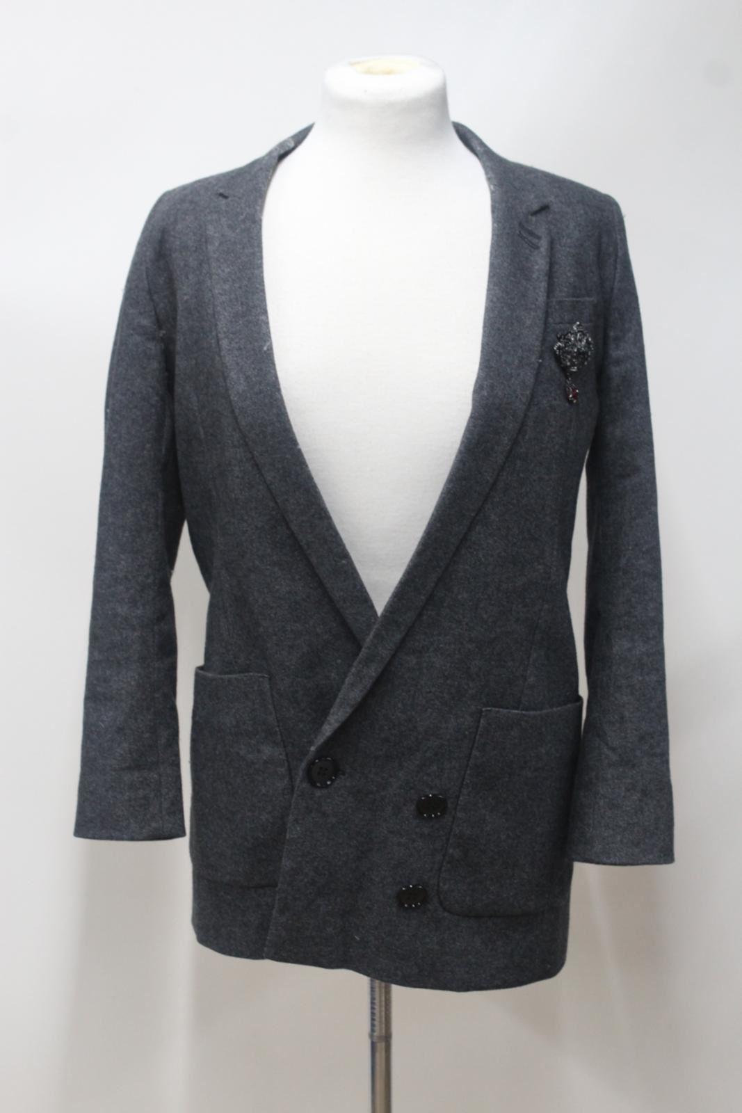 THE-KOOPLES-Ladies-Grey-Wool-Blend-Double-Breasted-Blazer-Jacket-32-XS