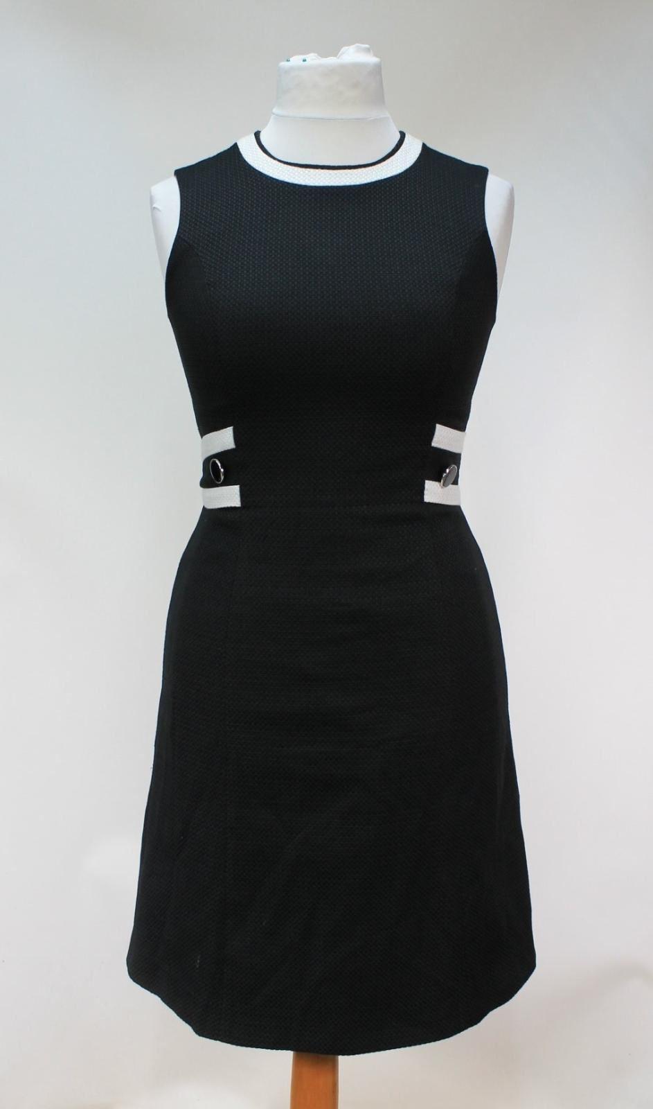 HOBBS-Ladies-Jacquie-Black-Ivory-Cotton-Blend-Round-Neck-Shift-Dress-UK10