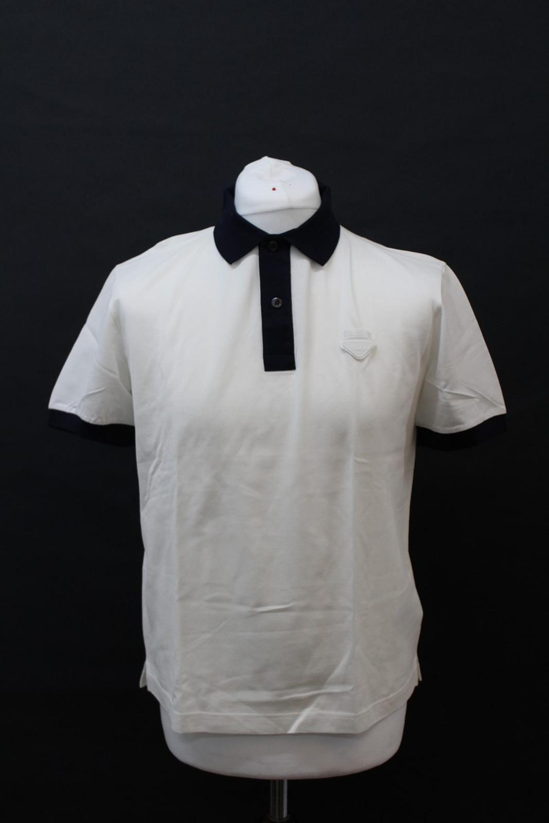 PRADA-Uomo-Avorio-Blu-Navy-Cotone-Maniche-Corte-Con-Colletto-Collo-Polo-XL