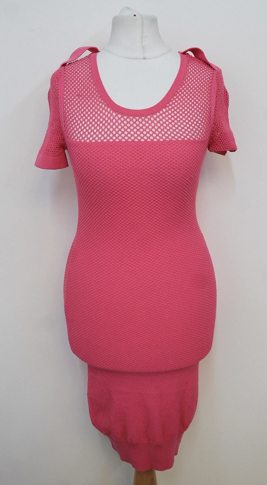 ALEXANDER-MCQUEEN-Ladies-Hot-Pink-Perforated-Short-Sleeved-Bodycon-Dress-XS