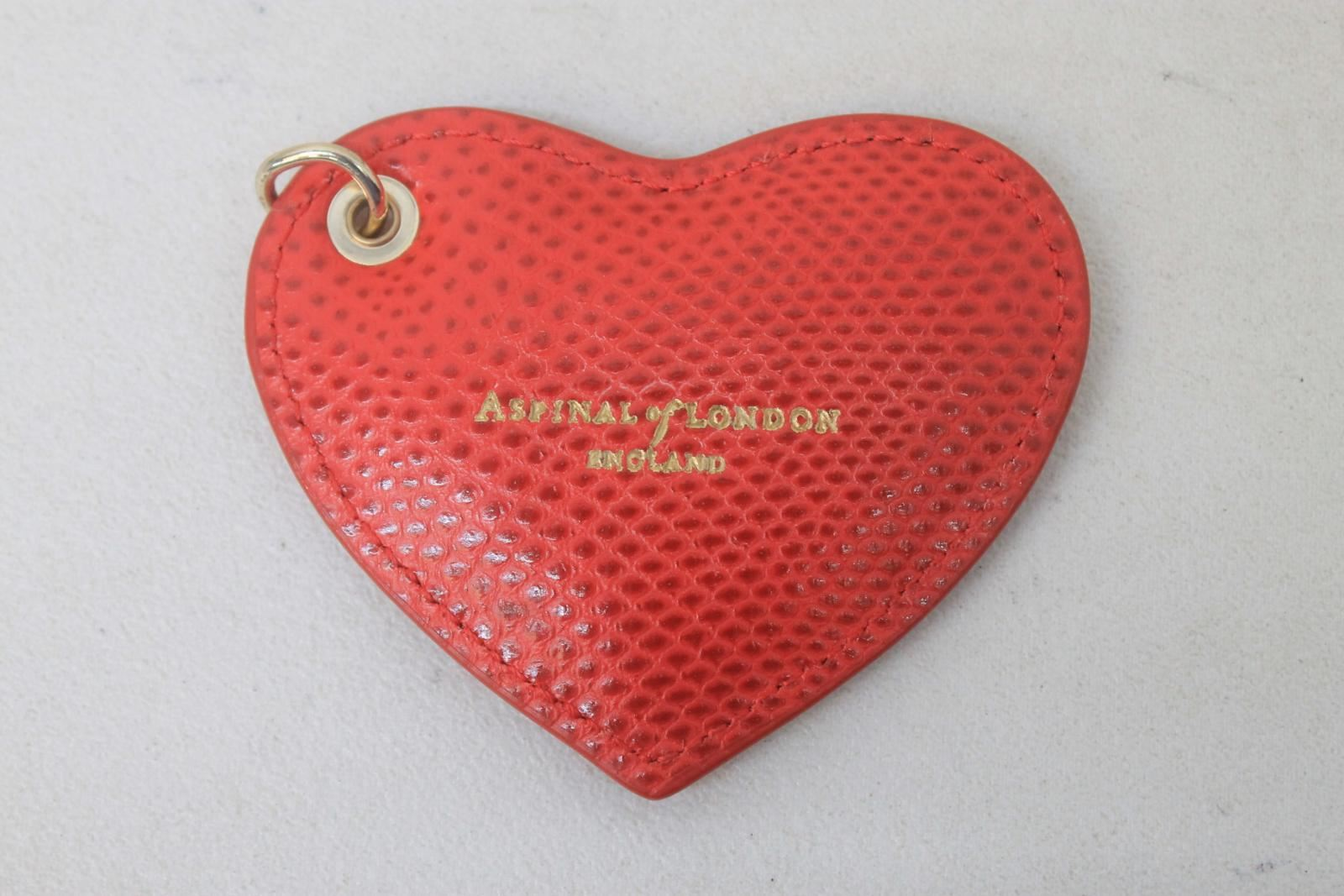 ASPINAL-OF-LONDON-Ladies-Red-Lizard-Print-Heart-Keyring-Charm-No-Key-Loop-NEW