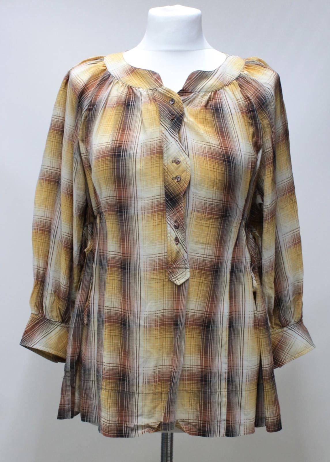 BCBG MAXAZRIA Ladies Honeycomb braun Silk Plaid Print 3 4 Sleeve Blouse Größe UK8