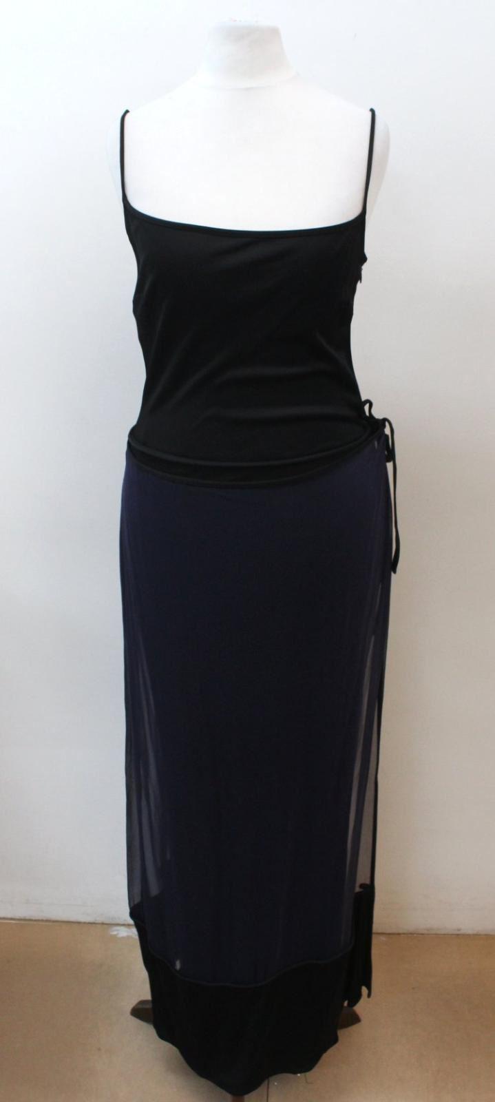 Ladies-Black-amp-Navy-Blue-Silk-Sleeveless-Sheer-Overlay-Maxi-Dress-UK10-EU38
