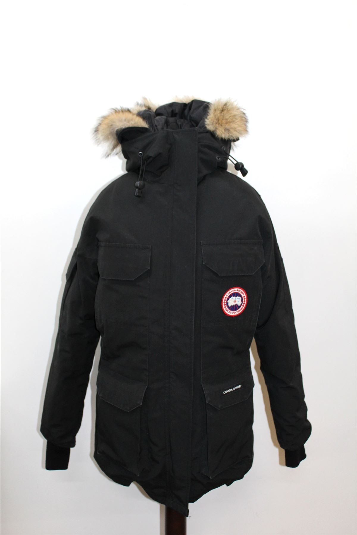 CANADA-GOOSE-Ladies-Black-Real-Fur-Hooded-Expedition-Down-Parka-Jacket-XS