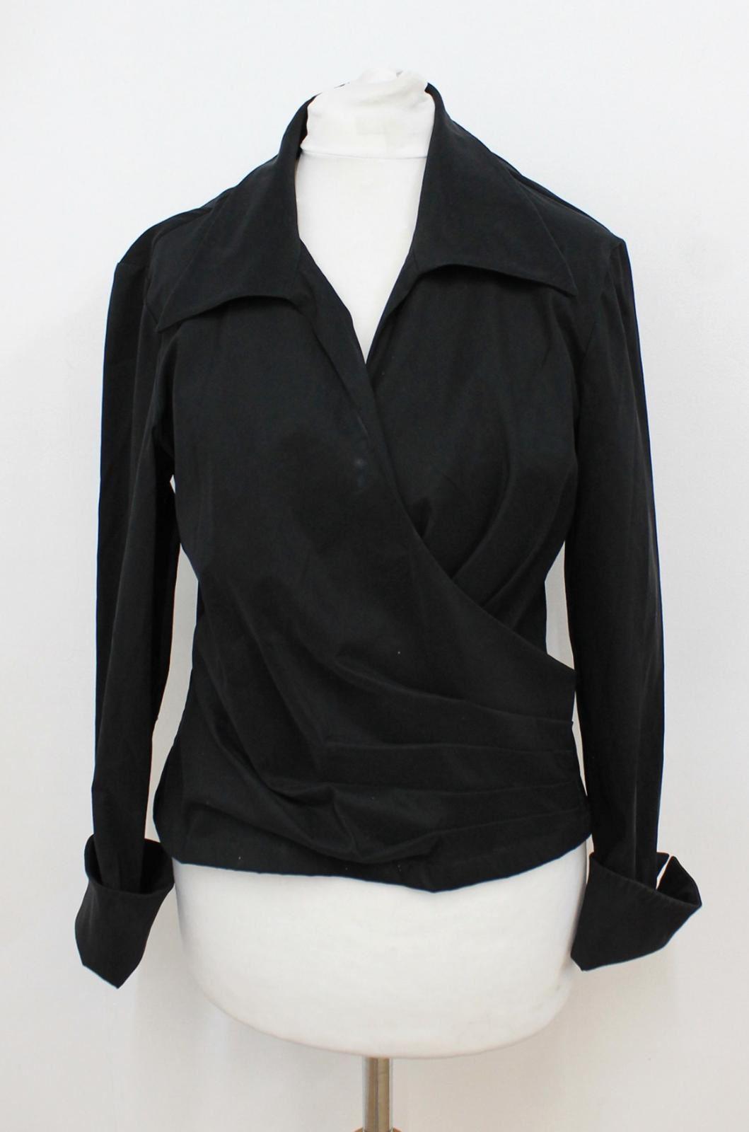 Adolfo Dominiguez costura Donna Nero Camicia a maniche lunghe con colletto IT42 UK10