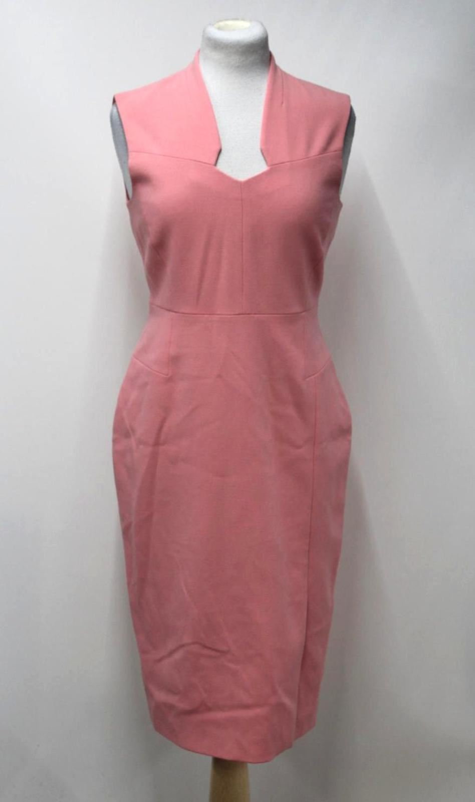L-K-BENNETT-Ladies-Dr-Dendra-Pink-Geometric-Neckline-Knee-Length-Dress-UK12