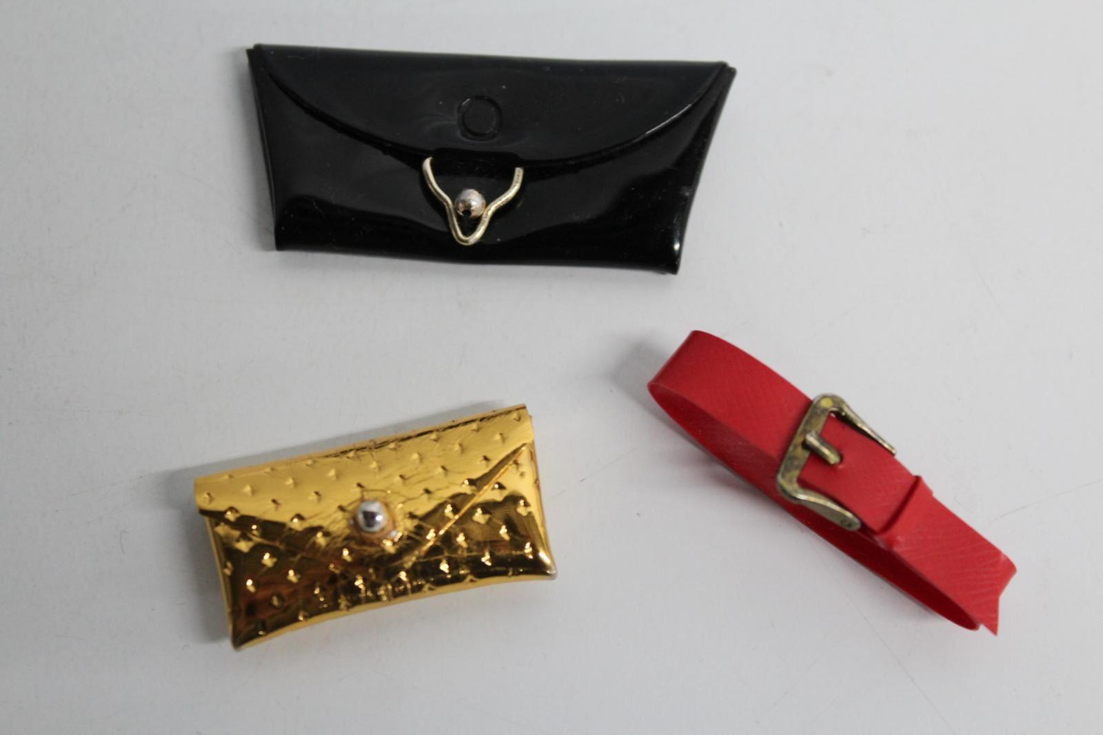 Vintage-Barbie-Gold-Dimple-Clutch-Black-Purse-amp-Red-Belt-Doll-Accessory-Lot