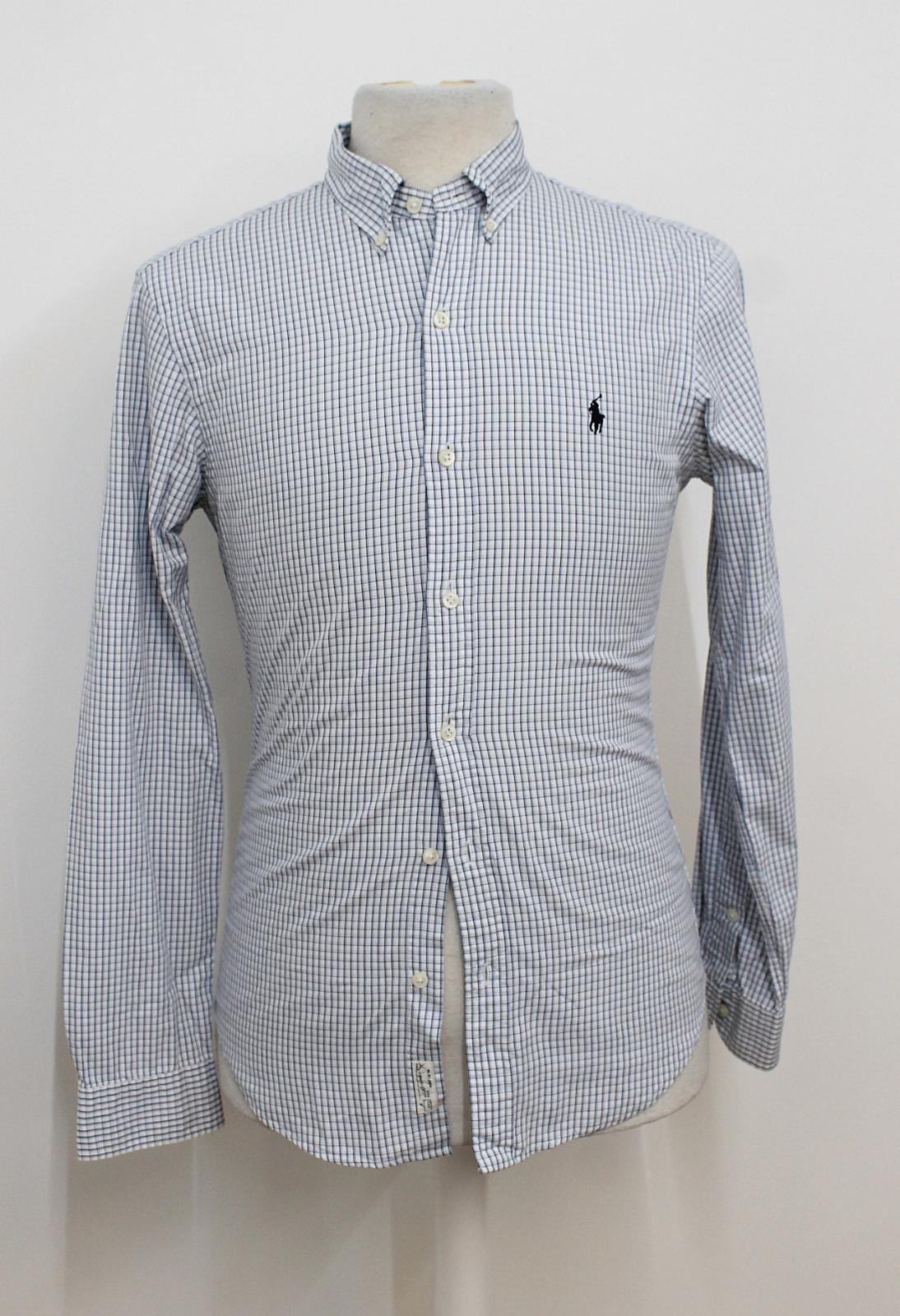 Polo-Ralph-Lauren-Para-Hombres-Blanco-Negro-Azul-Camisa-De-Patron-De-Cuadros-Slim-Fit-Talla-S