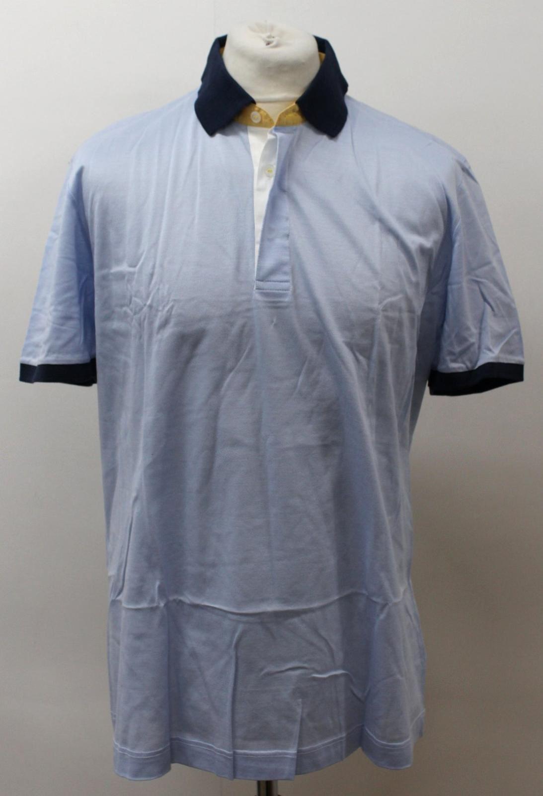 BNWT CRESPI Uomo Blu Cotone Manica Corta Corta Corta Con Colletto Collo Polo Taglia XL 342c58