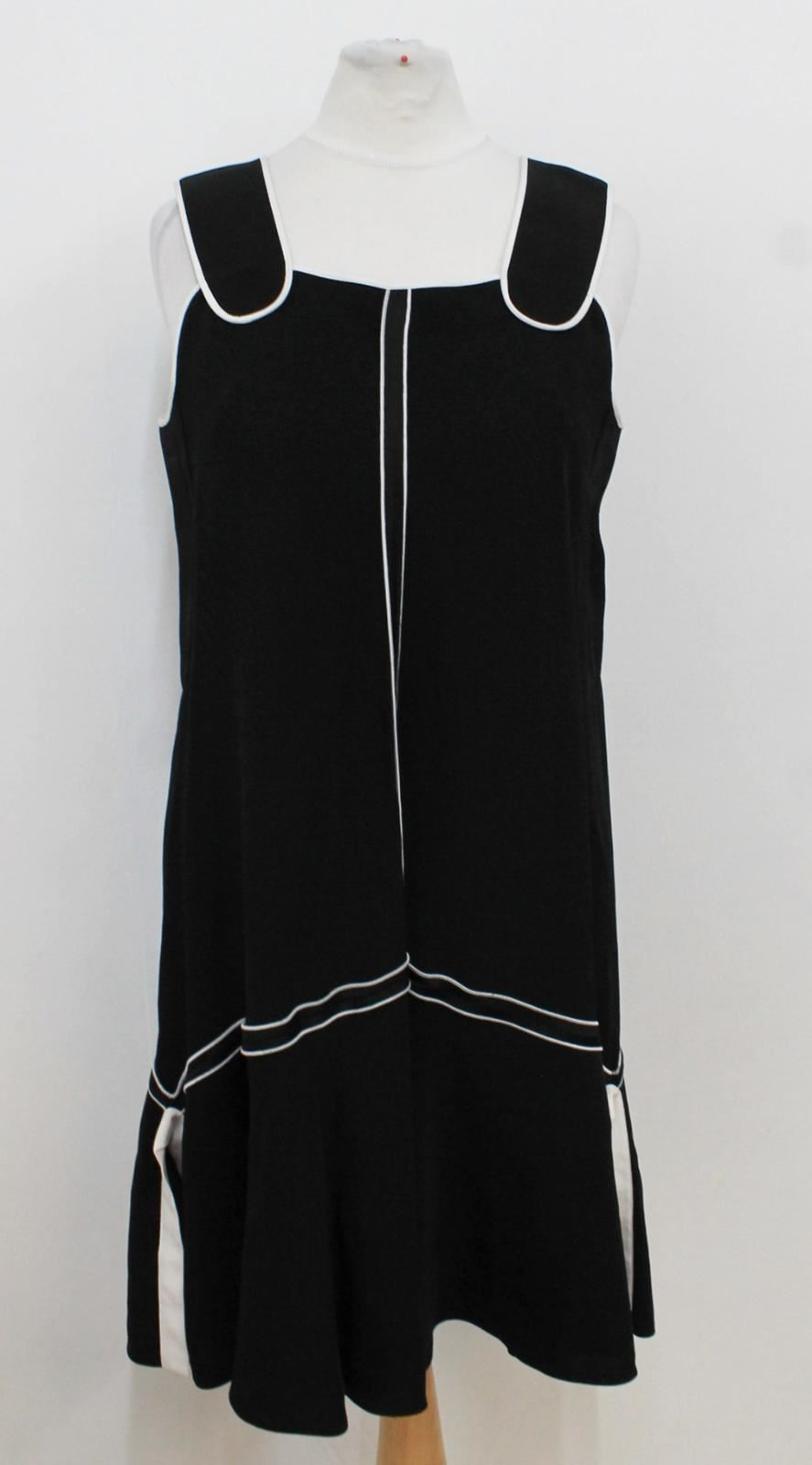 VICTORIA-BECKHAM-Ladies-Black-White-Trims-Sleeveless-Frilled-Hem-Dress-Size-UK6
