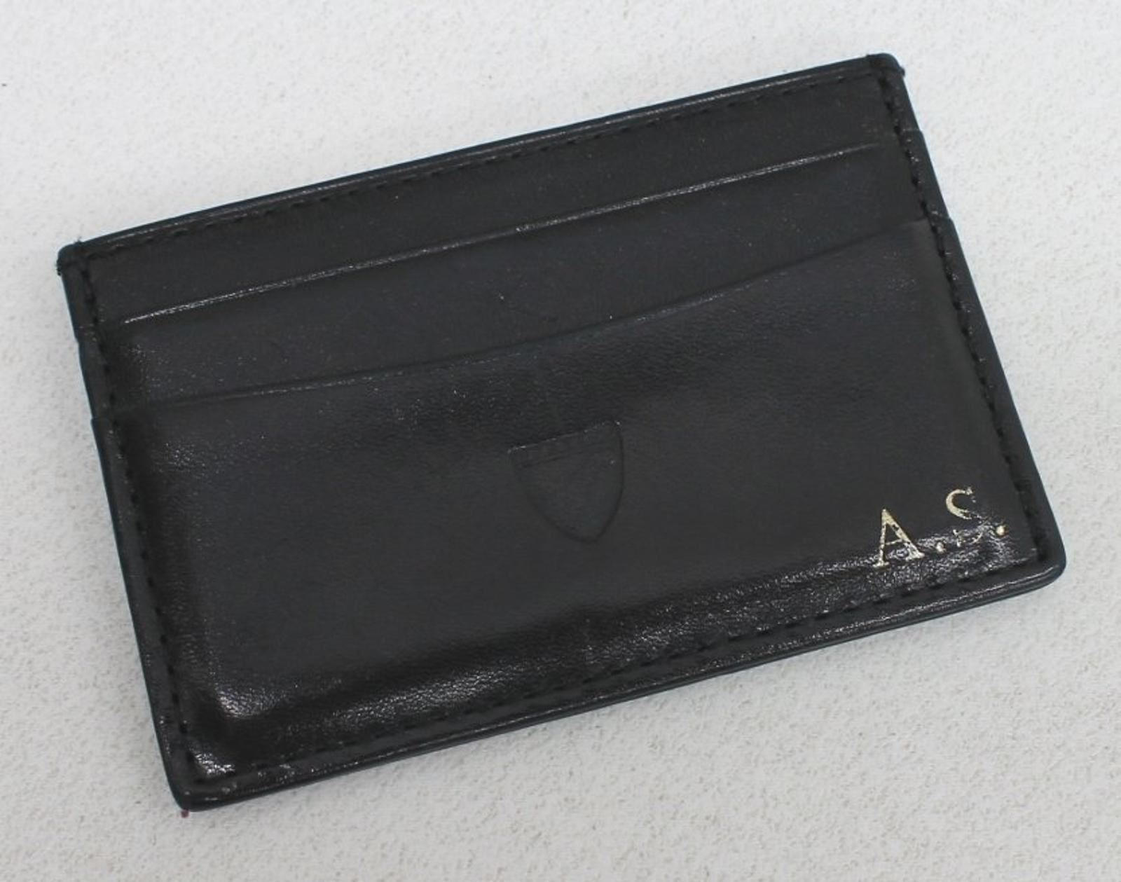 ASPINAL-OF-LONDON-Men-039-s-Black-Leather-Compact-Slim-6-Credit-Card-Case-Embossed